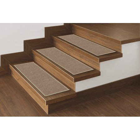 "Ottomanson Non Slip rubber Backing Stair Tread, Dark Beige, 8.5"" X 31"""