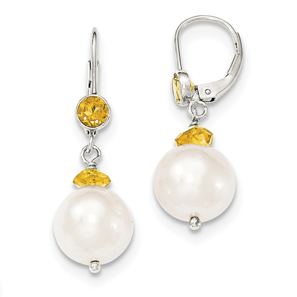 Sterling Silver Fresh Water Cultured Pearl w/ Citrine Leverback Earrings (1.2IN x 0.3IN )