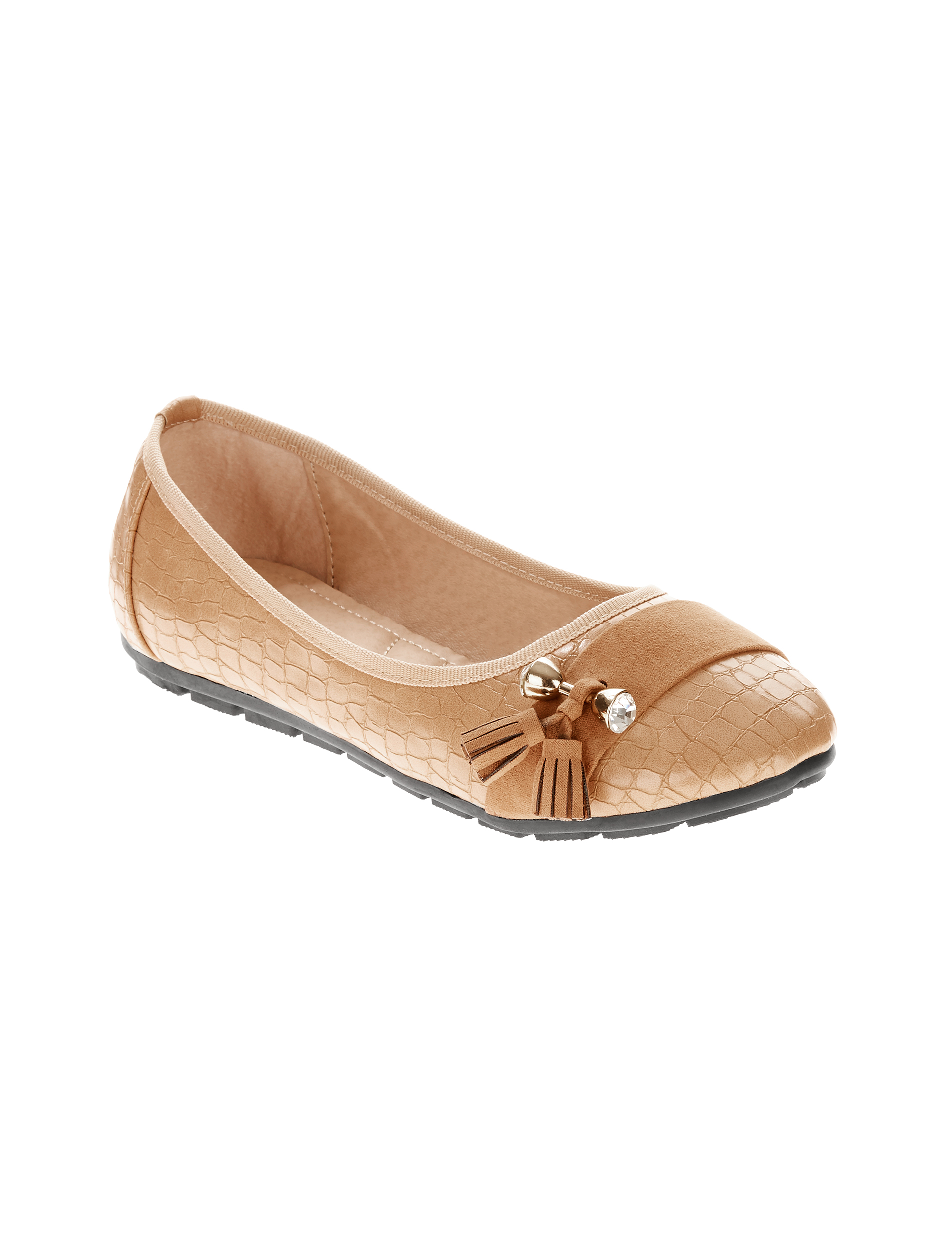 Victoria K Women's Side Tassels With Rhinestone Ornament On Croc Textured Ballerina Flats