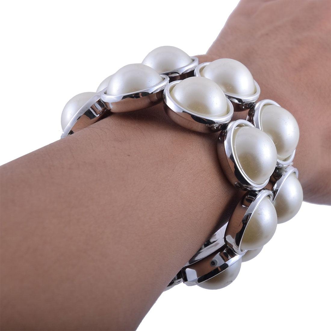 Lady Plastic Imitation Pearl Inlaid 2 Rows Elastic Cord Bracelet Silver Tone - image 1 de 2