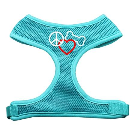 Peace, Love, Bone Design Soft Mesh Harnesses Aqua Extra Large