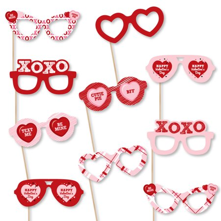 Conversation Hearts Glasses - Paper Card Stock Valentine's Day Party Photo Booth Props Kit - 10 Count (Diy Photo Props)