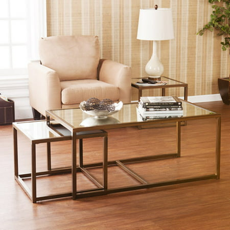 Rowley glass coffee and end table 3 piece set antique bronze One piece glass coffee table