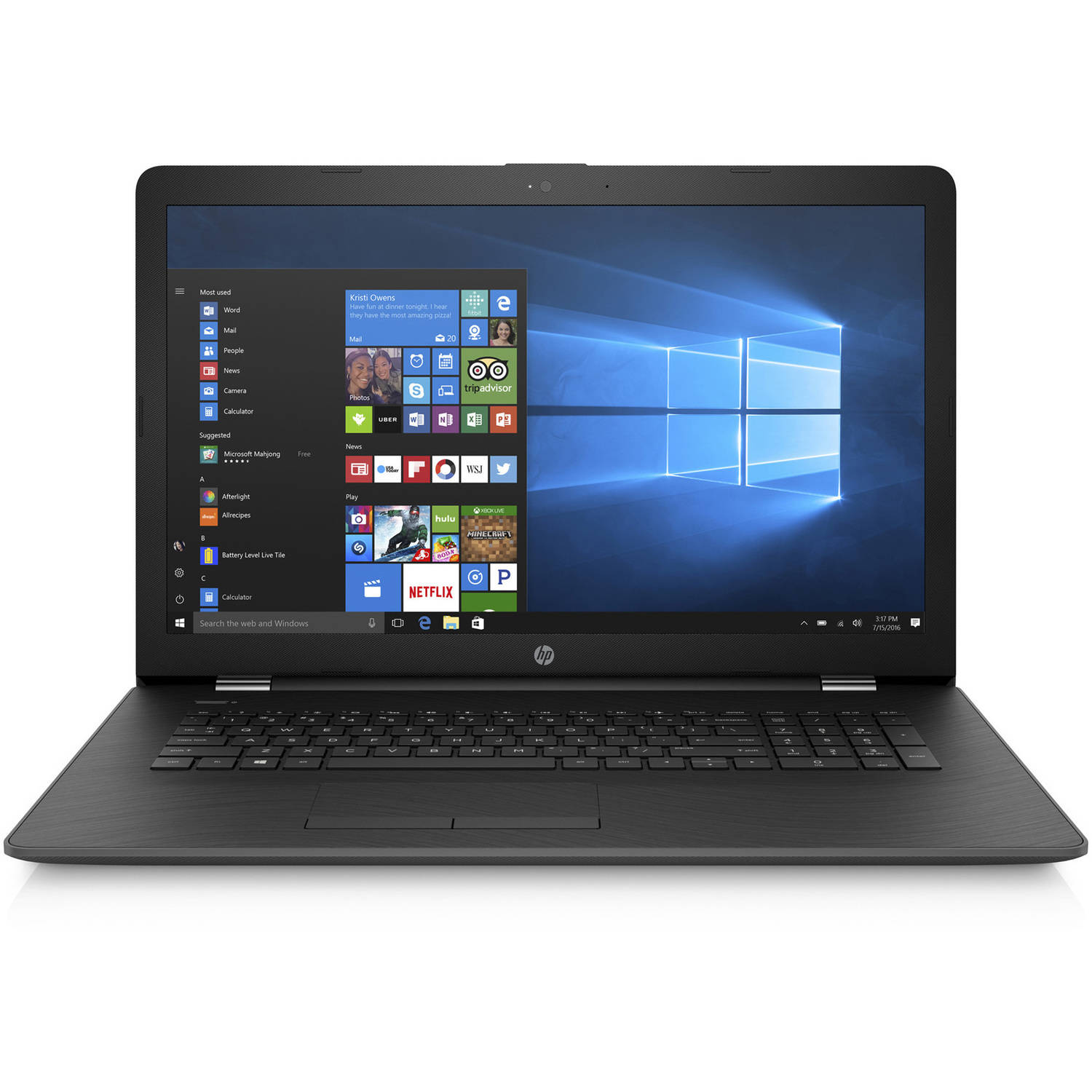 "HP 17-Ak010Nr 17.3"" Laptop, Windows 10 Home, AMD A9-9420 Dual-Core Processor, 4GB RAM, 500GB Hard Drive"