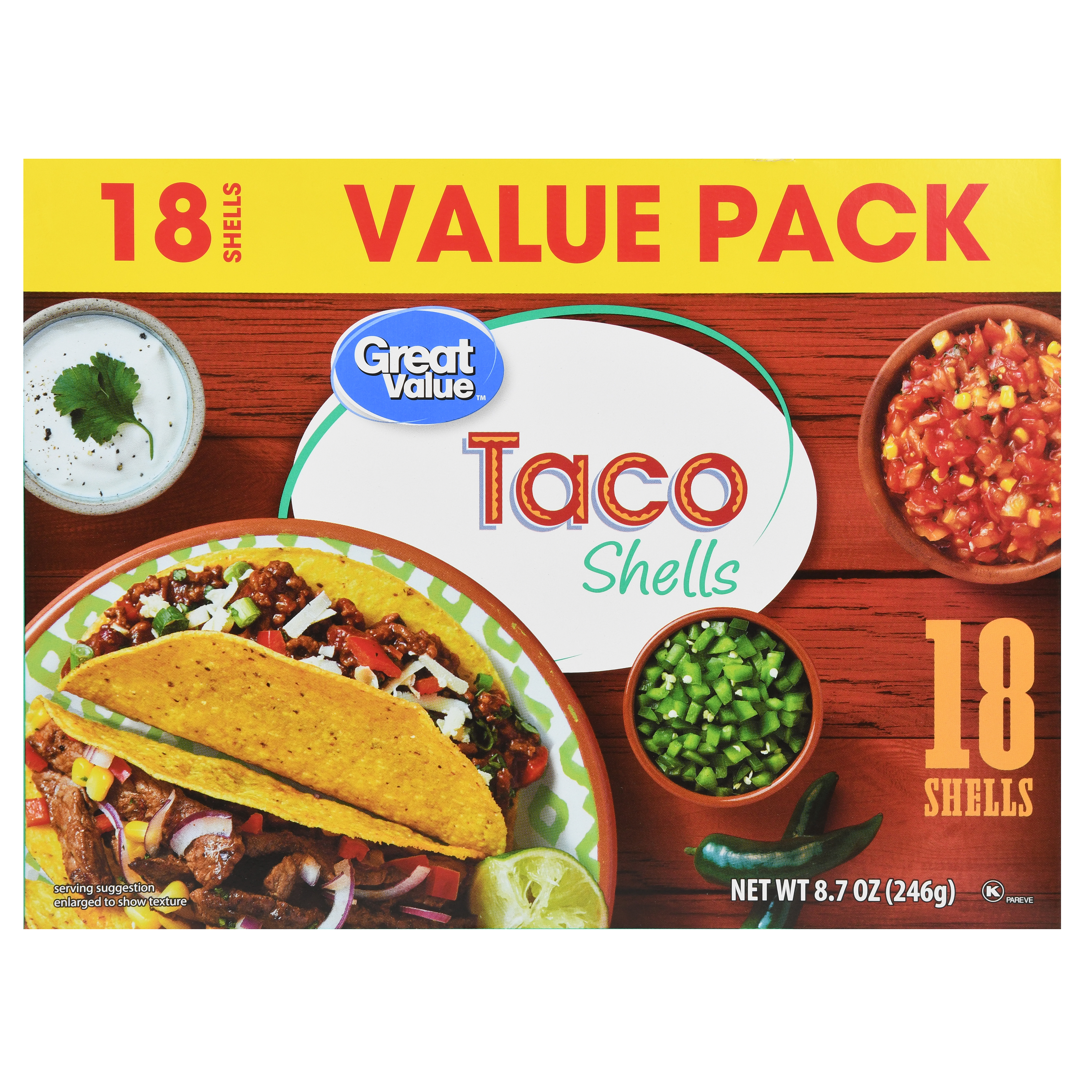 Great Value Taco Shells Value Pack, 18 Count