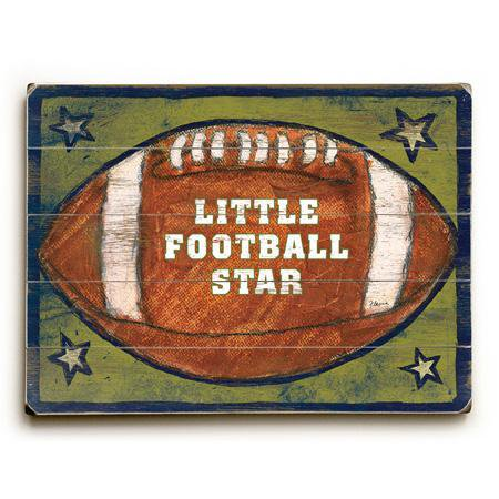 Artehouse Decorative Wood Sign  Kids Football Star   14  X 20   Planked Wood