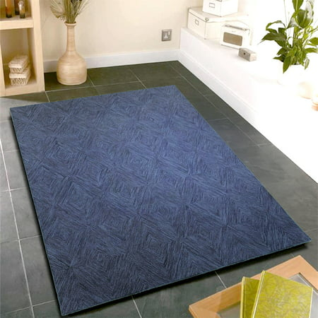LR Home Integrity Navy 8 ft. 9 in. x 11 ft. 9 in. Pure Wool Hand Hooked Abstract Geometric Rectangle Modern Diamond Rectangular Rug