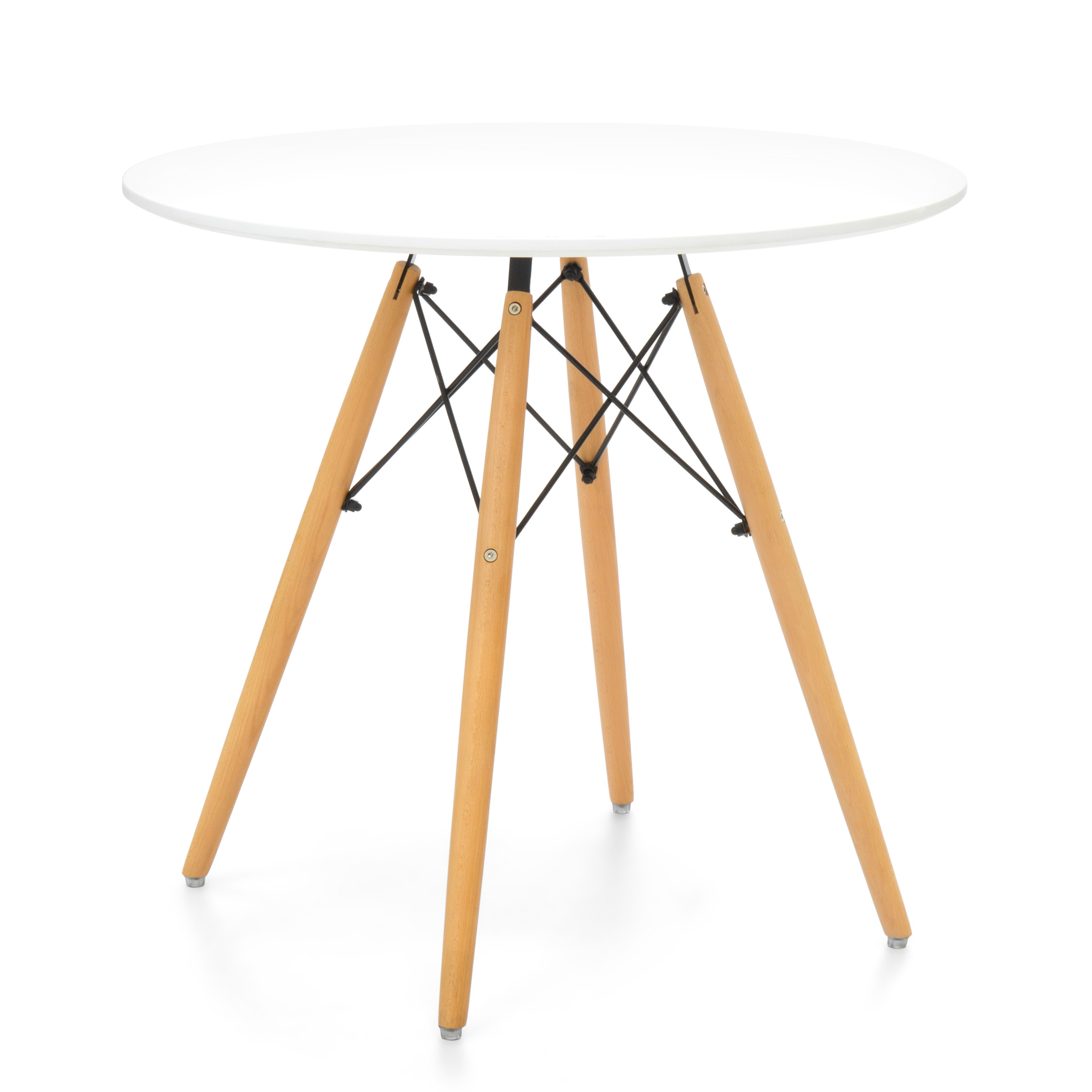Best Choice Products Mid Century Modern Eames Style Round Dining Table w/ Wood Legs and White Tabletop