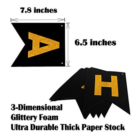 Birthday Decorations Happy Bday Banner Party Kit Pack B-day Celebration Supplies with Gold and Black Stars Balloons, Plus Extra Large Golden Fringe Curtain for Men or Women (80th) - Happy 80th Birthday