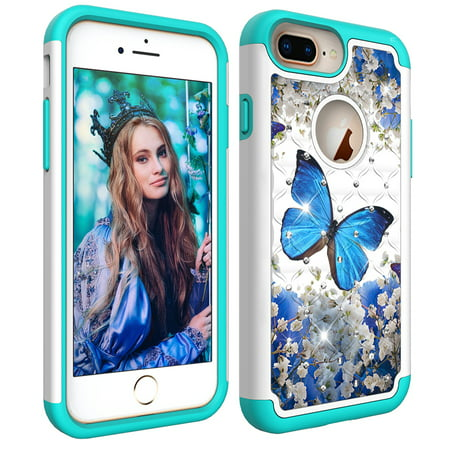 iPhone 7 Plus/ 8 Plus Case, iPhone 6S 6 Case, Allytech Tough Dual Layer 2 in 1 Rugged Rubber Hybrid Hard PC Soft TPU Impact Back Protective Cover Coloured Drawing with Bling Diamond, Blue Butterfly