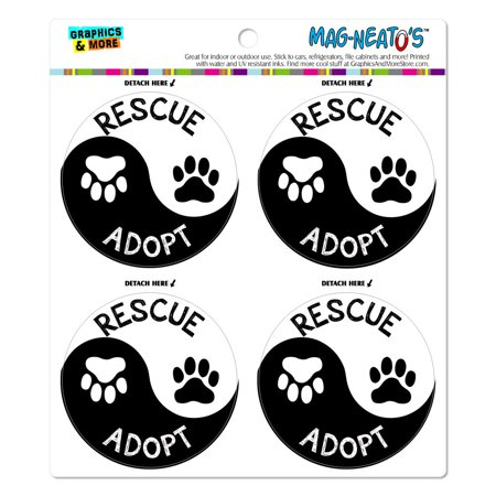 Rescue Adopt Yin Yang Paw Prints Dogs Cats MAG-NEATO'S(TM) Car/Refrigerator Magnet - Print Magnets