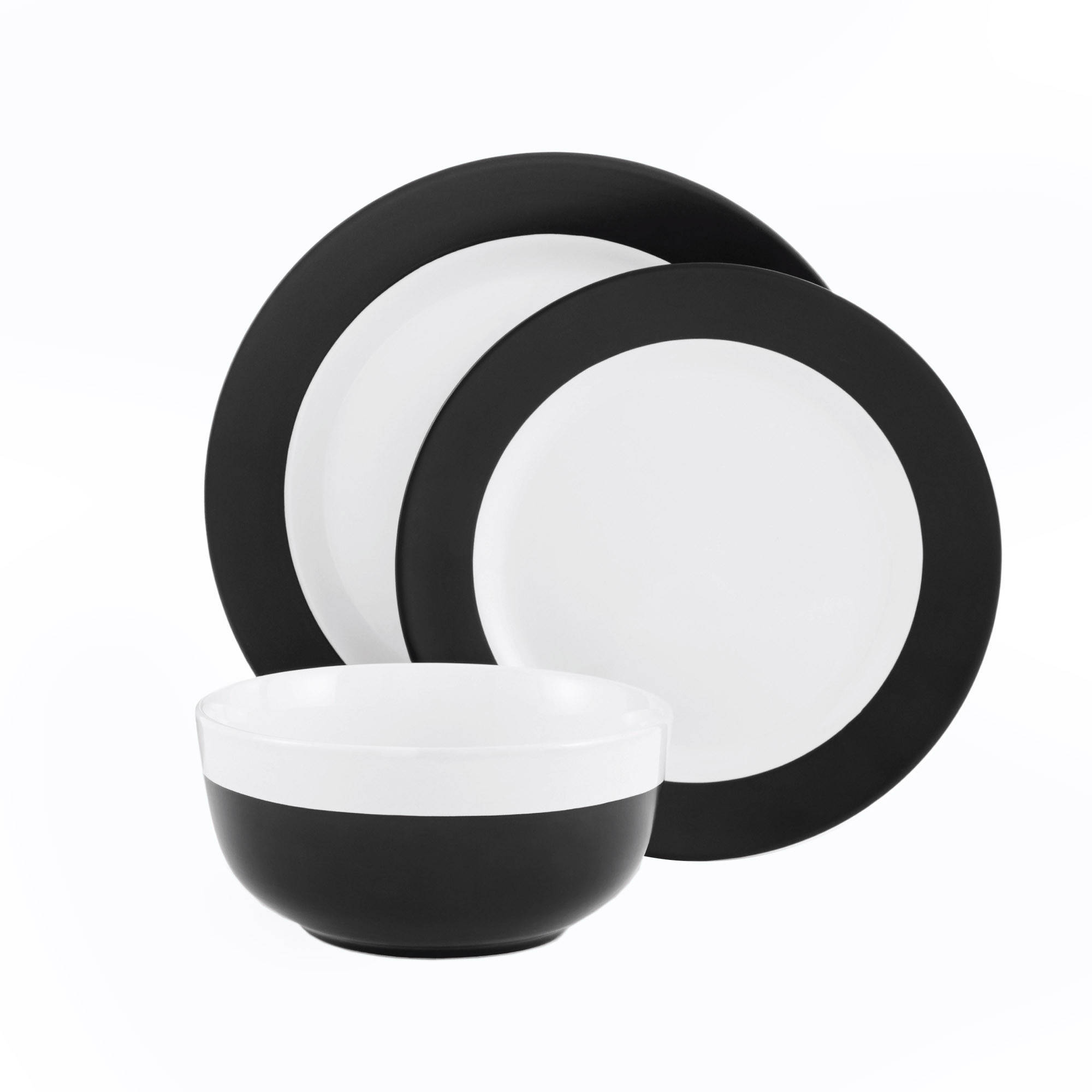 sc 1 st  Walmart & Mainstays 12-Piece Black and White Dinnerware Set - Walmart.com