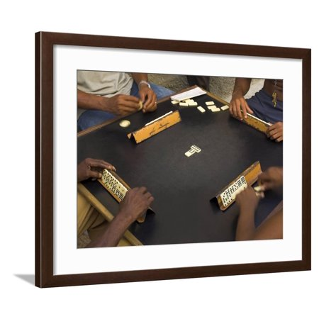 The Hands of a Group of Four People Playing Dominos in the Street Centro Habana Framed Print Wall Art By Eitan Simanor - Groups Of 4 People