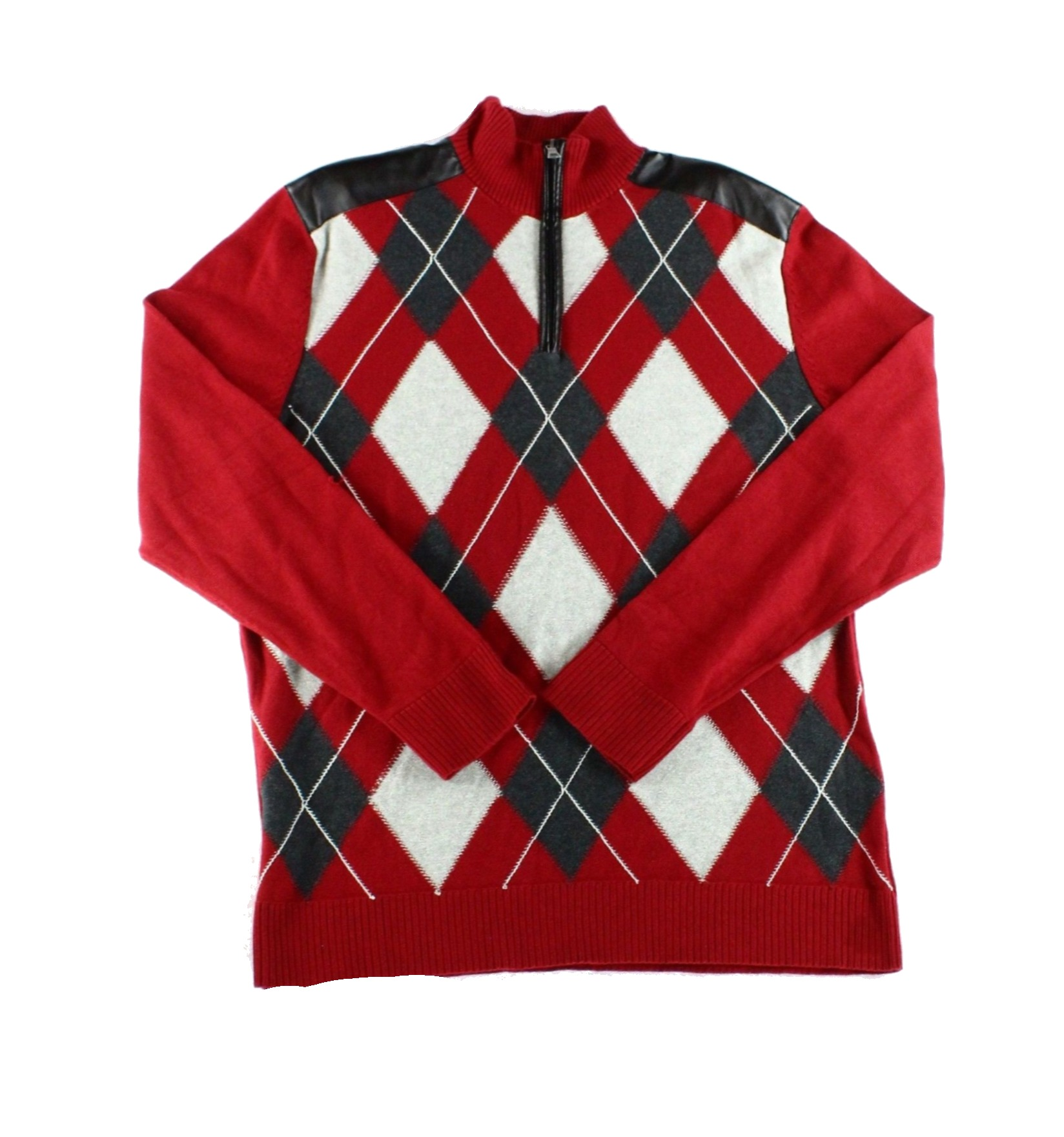 INC NEW Red Bright Rhubarb Mens Small S 1/2 Zip Pullover Argyle Sweater