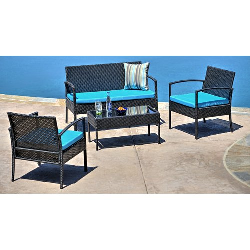 W Unlimited Teaset Garden 4 Piece Sofa Set with Cushions