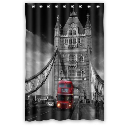 XDDJA Red Double Decker Bus London Bus Shower Curtain Waterproof Polyester Fabric Shower Curtain Size 48x72 inches - image 1 de 1