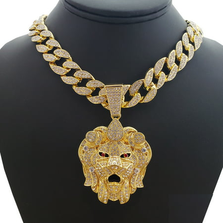 "Hip Hop Bling 14K Gold Tone Plated Lion Head Pendant & 30"" Full Iced Cuban Choker Chain Necklace Set"