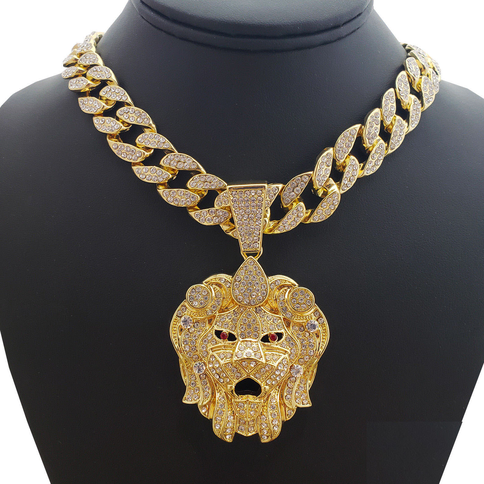 "Hip Hop Bling 14K Gold Tone Plated Lion Head Pendant & 36"" Full Iced Cuban Choker Chain Necklace Set"