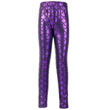 Kids Girls Night Club Full Length Mermaid Fish Scale Print Leggings Purple XL