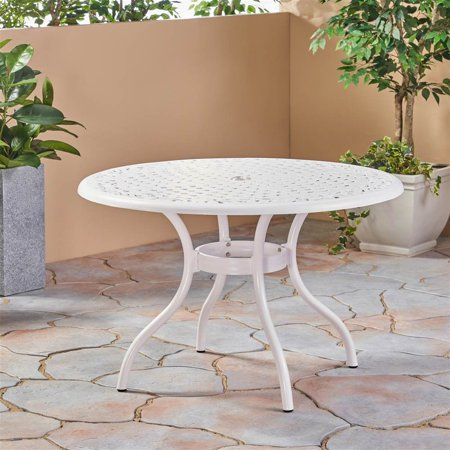Phoenix Outdoor Round Dining Table in White ()