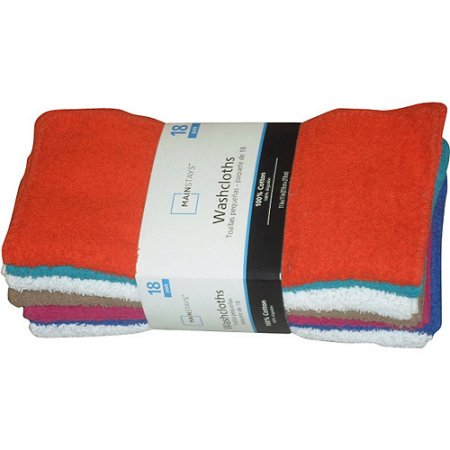 Mainstays 100% Cotton Terry Wash Cloth, 18 Piece