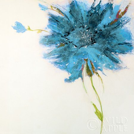 Turquoise Daisy On White Poster Print by Jan Griggs