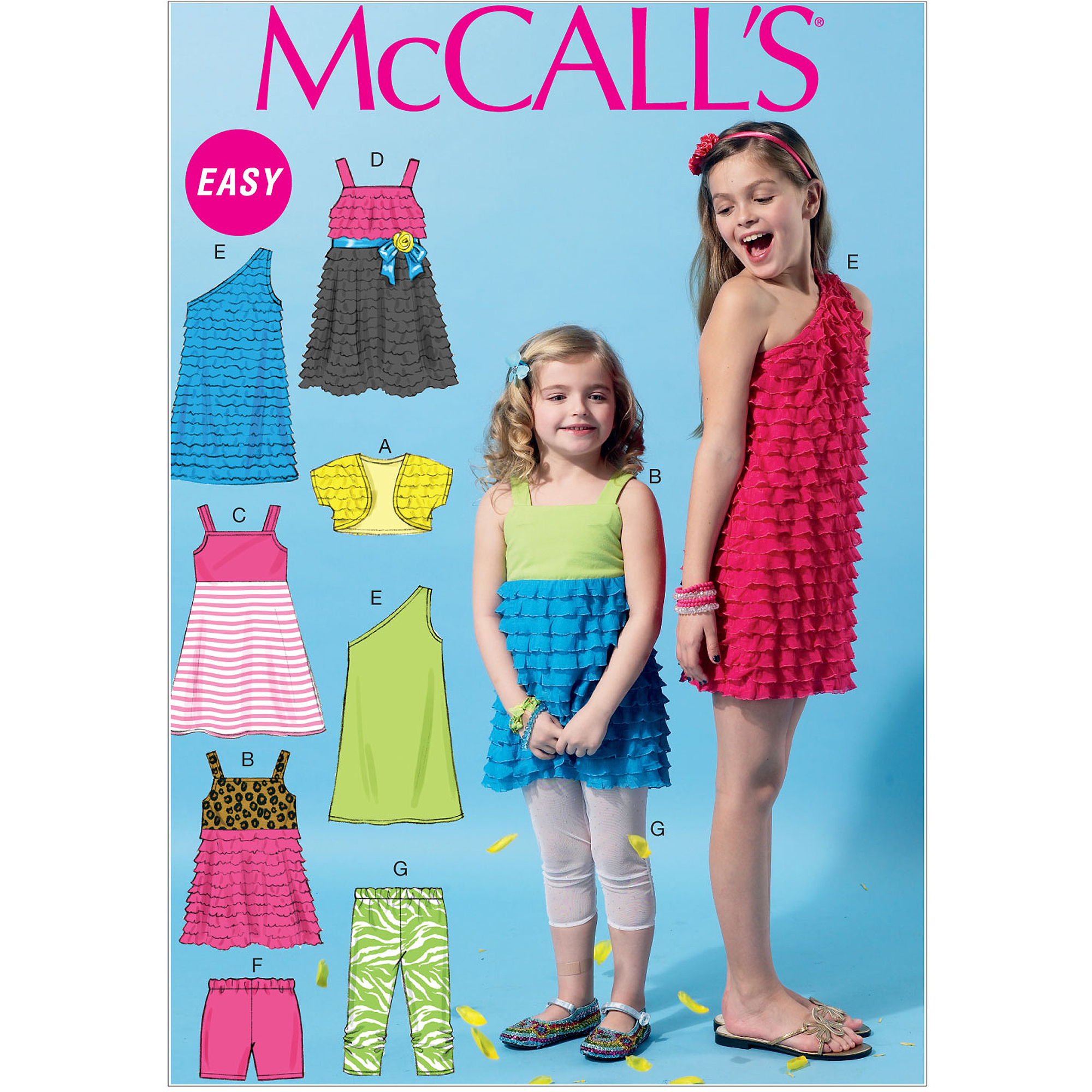 McCall's Pattern Children's and Girls' Shrug, Top, Dresses, Shorts and Leggings, CHJ (7, 8, 10, 12, 14)