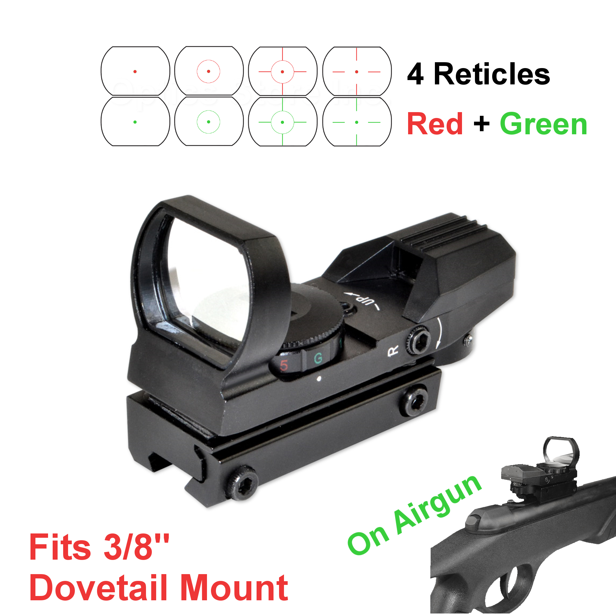 "Field Sport Red and Green Reflex Sight with 4 Reticles, For 3/8"" Dovetail Mount - Airgun .22"