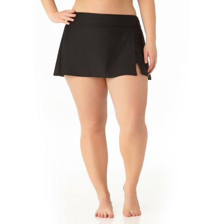 Catalina Women's Plus Size Black Skirted Swim (Catalina Black Magnolia)