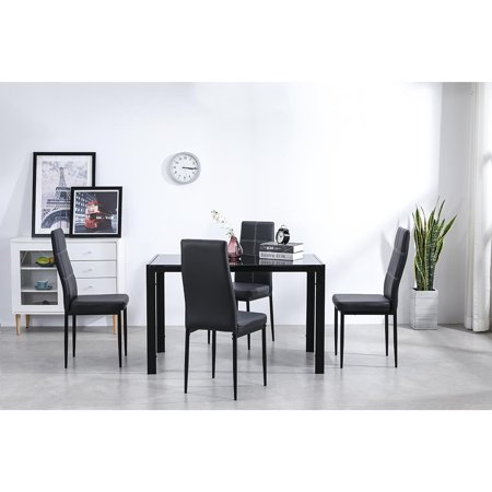 Ktaxon 5 Piece Dining Table Set,4 Chairs,Glass Table Breakfast Furniture
