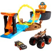 Hot Wheels Monster Trucks Stunt Tire Play Set Opens To Reveal Arena With Launcher For 2 Hot Wheels 1:64 Scale Cars Or 1 Monster Truck For Crashing and Smashing Gift For Kids Ages 4 To 8