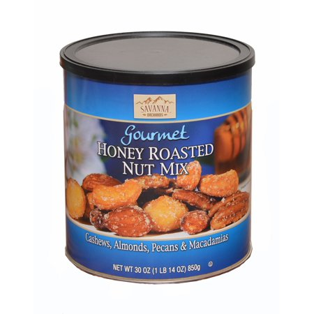 Savanna Orchards Gourmet Honey Roasted Nut Mix. Cashews, Almonds, Pecans &Macadamias. 30 oz. (Pack of1)