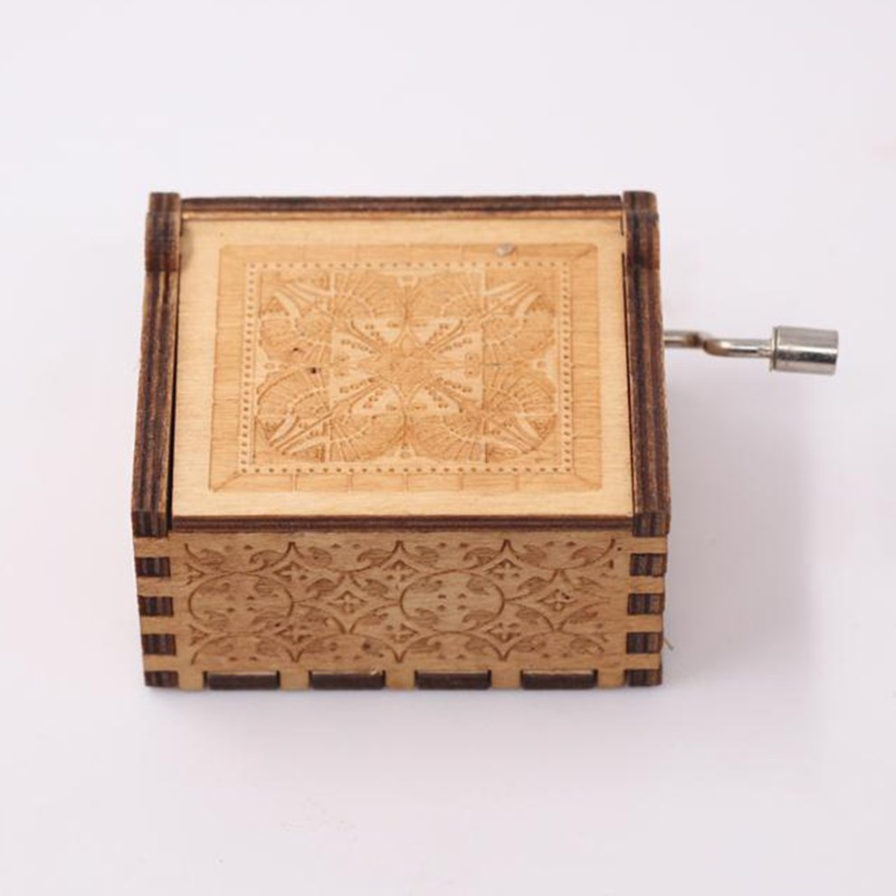 VARWANEO Classical Music Box Carved Hand-Cranked Wooden Music Box Handicraft Ornaments Music Box