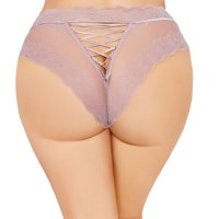 Lacy Line Sexy Plus Size High Waisted Lace Panties With Lace Up Back