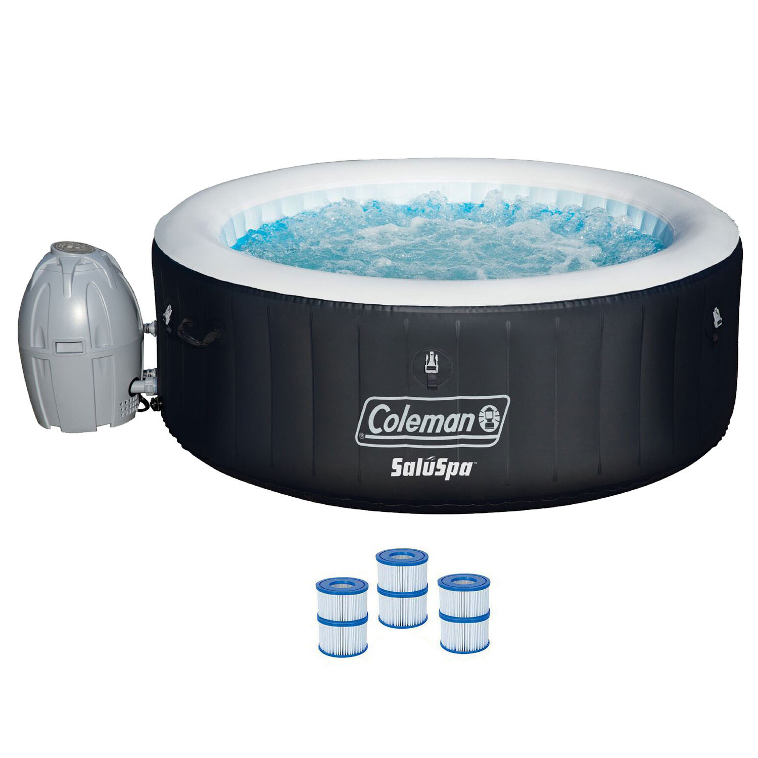 """Coleman SaluSpa 71 x 26"""" Inflatable Spa 4-Person Hot Tub w  3 Filter Cartridges by COLEMAN"""