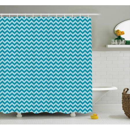 Chevron Shower Curtain Zigzags In Sea Colors Ocean Waves Nautical Theme Sailboat Design Breeze