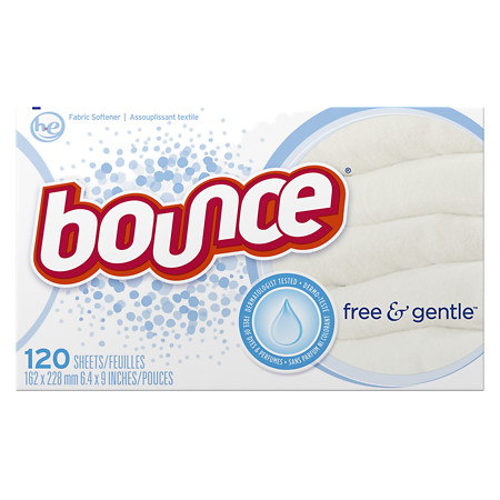 Bounce Fabric Softener Dryer Sheets Free & Gentle Unscented 120.0 ea(pack of 6)