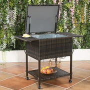 Portable Rattan Cooler Cart Trolley Outdoor Patio Pool Party Ice Drink Mix