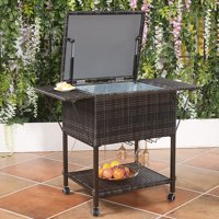 Costway Portable Rattan Cooler Cart Trolley Outdoor Patio Pool Party Ice Drink Mix Brown