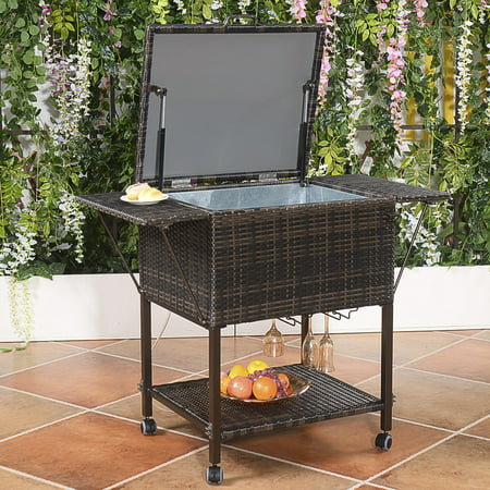 Costway Portable Rattan Cooler Cart Trolley Outdoor Patio Pool Party Ice Drink Mix Brown - Party Coolers