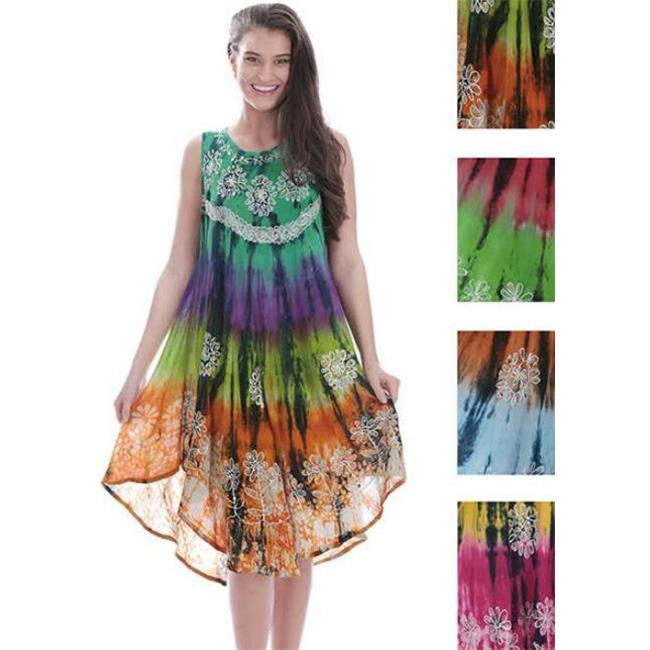 DDI 1944912 Indian Tie Dye Dress with Flower Embroidery, ...