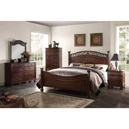 Acme Furniture 22770Q Manfred Dark Walnut Poster Queen Bedroom Set 6 ...