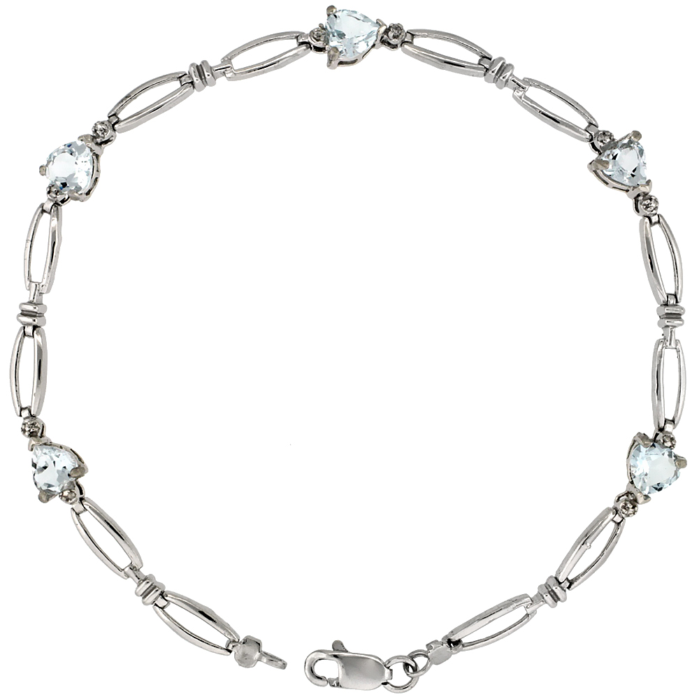 10k White Gold Heart Tennis Bracelet 0.05 ct Diamonds & 2.50 ct Heart Aquamarine, 3 16 inch wide by WorldJewels