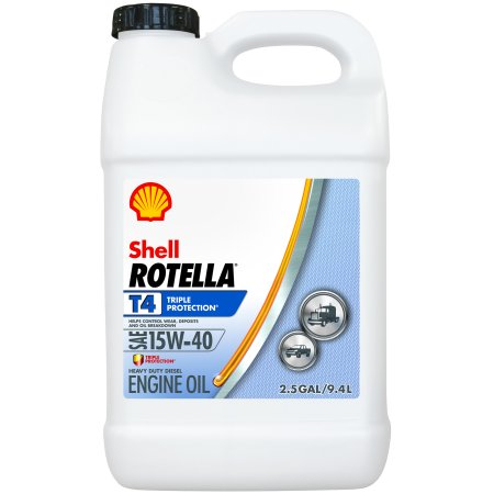 (12 Pack) Shell Rotella T4 15W-40 Heavy Duty Diesel Oil, 2.5 gal.