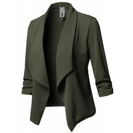 JustVH Women's Long Sleeve Open Front Lightweight Work Office Blazer