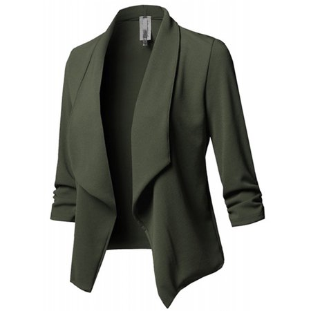 JustVH Women's Long Sleeve Open Front Lightweight Work Office Blazer Jacket ()
