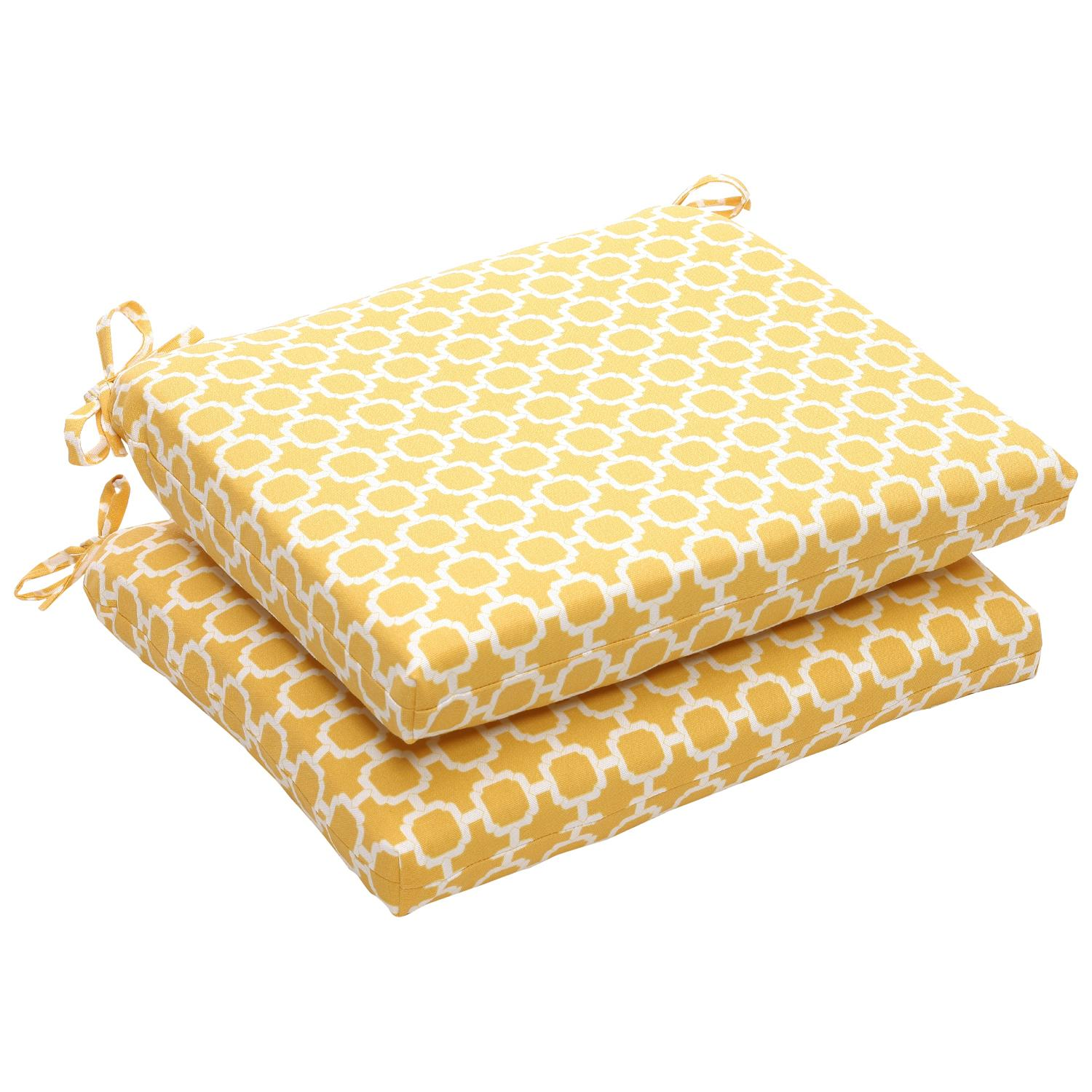 """Pack of 2 Eco-Friendly Virgin Recycled Lemon Mosaic Outdoor Seat Cushions 18.5"""""""