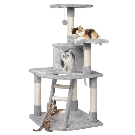 SmileMart 58 in Cat Tree Tower Scratcher Pet Play House,Light Gray ()