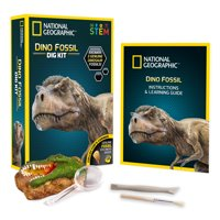 National Geographic Dino Fossil Dig Kit: Excavate 3 Real Fossils Including Dinosaur Bones