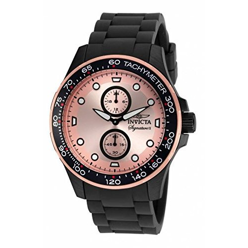 Invicta Signature Chronograph Rose Dial Black Ion-plated Mens Watch 7084